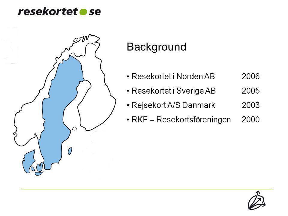 Background Resekortet i Norden AB 2006 Resekortet i Sverige AB 2005