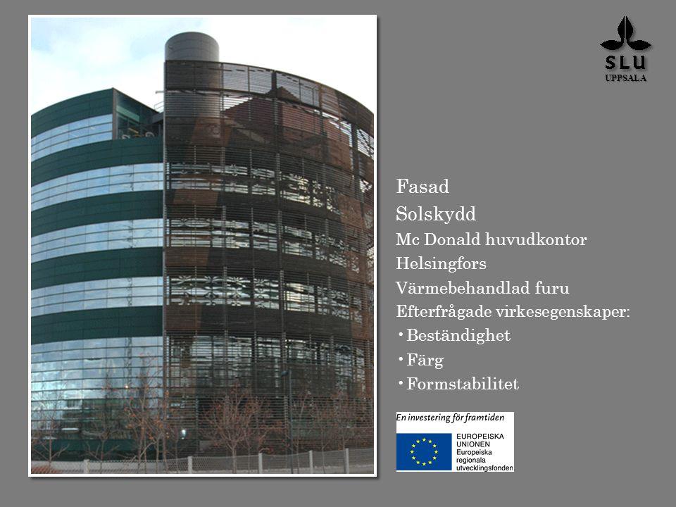 Fasad Solskydd Mc Donald huvudkontor Helsingfors Värmebehandlad furu