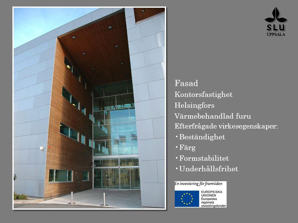 Fasad Kontorsfastighet Helsingfors Värmebehandlad furu Beständighet