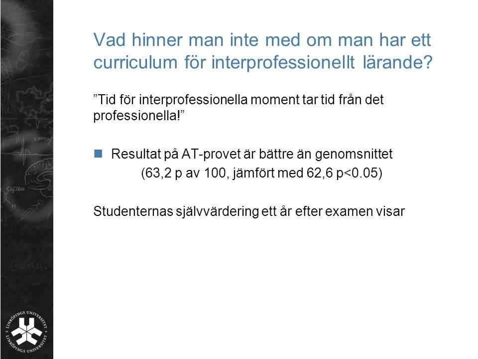 Vad hinner man inte med om man har ett curriculum för interprofessionellt lärande
