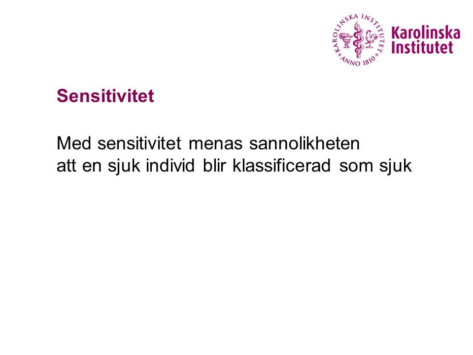 Sensitivitet Med sensitivitet menas sannolikheten att en sjuk individ blir klassificerad som sjuk
