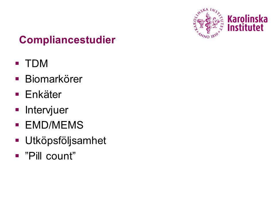 Compliancestudier TDM Biomarkörer Enkäter Intervjuer EMD/MEMS Utköpsföljsamhet Pill count