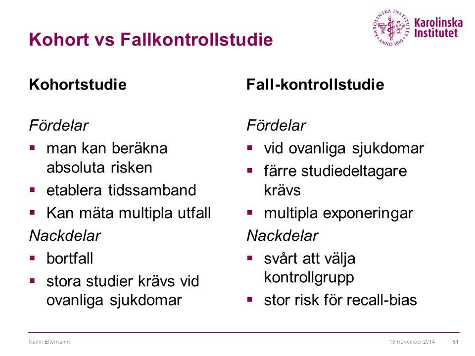Kohort vs Fallkontrollstudie