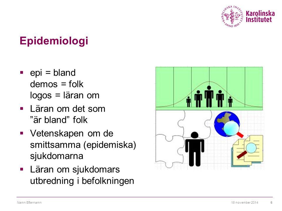 Epidemiologi epi = bland demos = folk logos = läran om