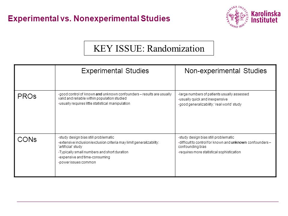 Experimental vs. Nonexperimental Studies