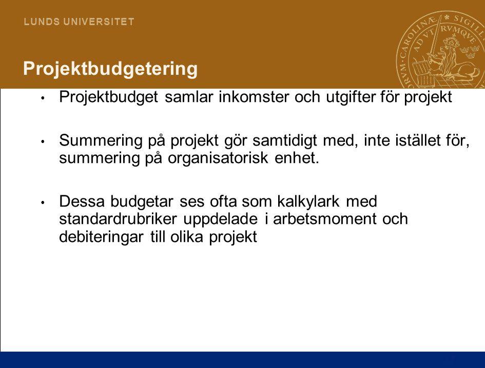 Projektbudgetering Projektbudget samlar inkomster och utgifter för projekt.