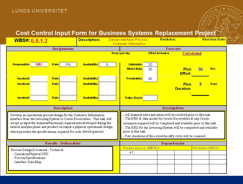 Cost Control Input Form for Business Systems Replacement Project