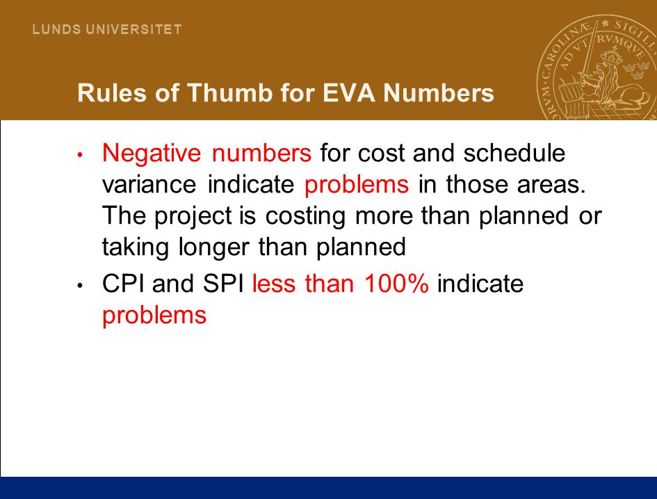 Rules of Thumb for EVA Numbers