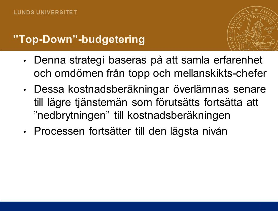Top-Down -budgetering