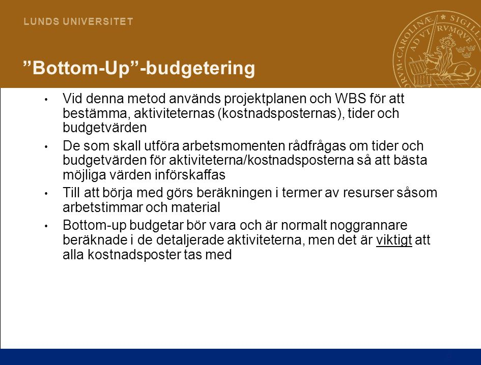 Bottom-Up -budgetering