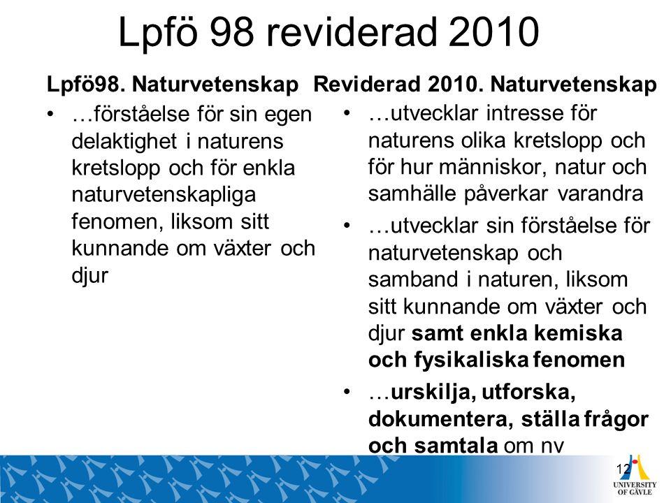 Lpfö 98 reviderad 2010 Lpfö98. Naturvetenskap