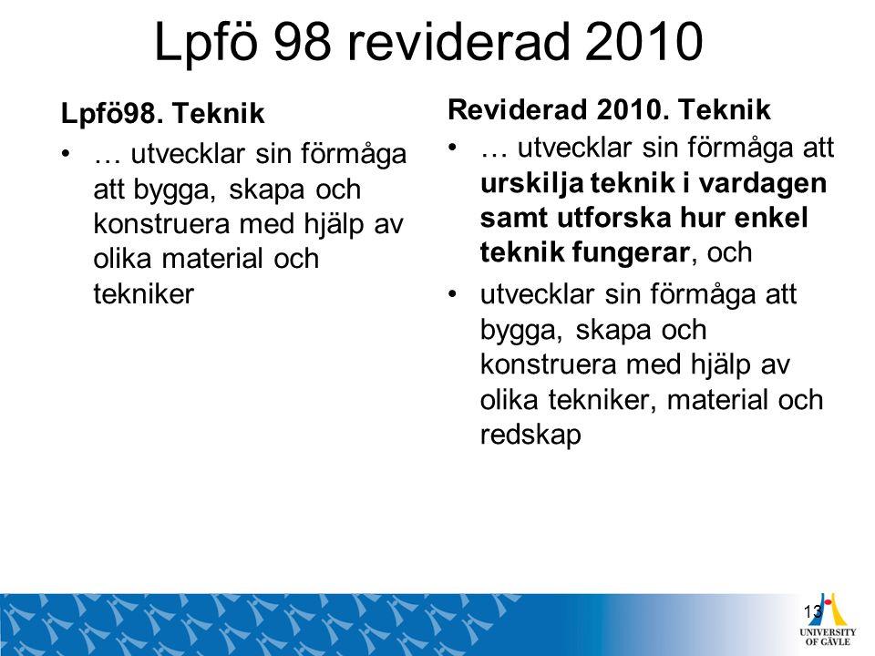 Lpfö 98 reviderad 2010 Reviderad 2010. Teknik Lpfö98. Teknik