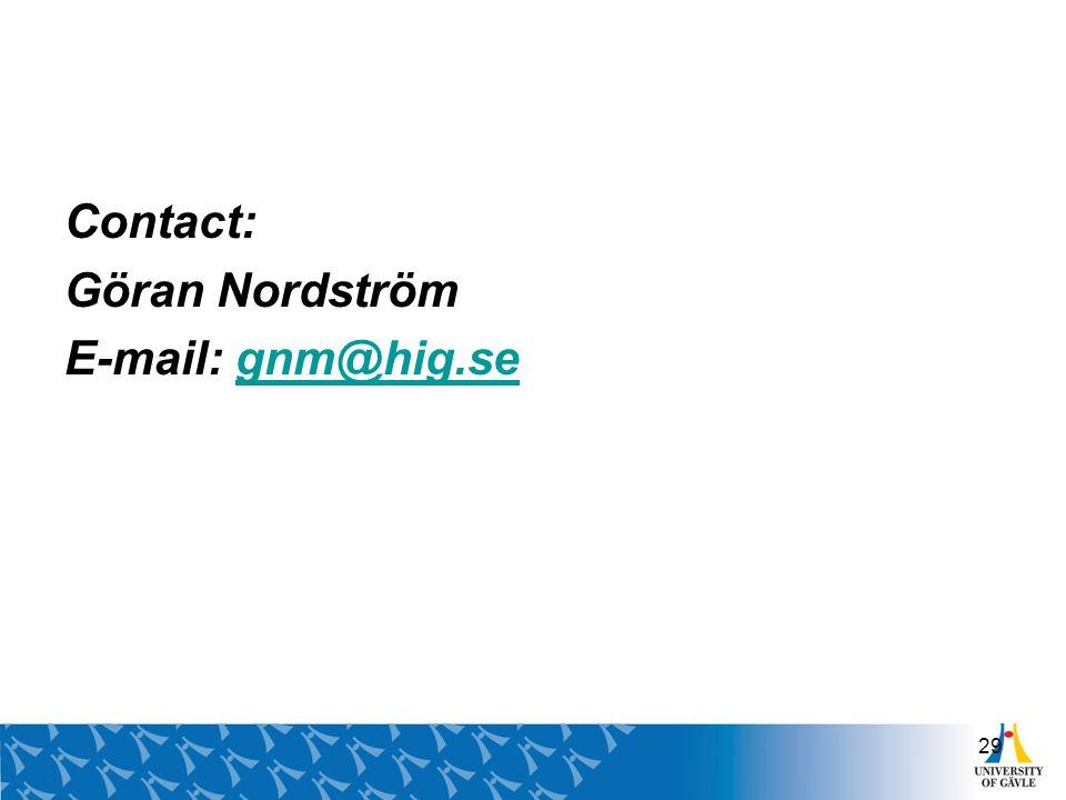 Contact: Göran Nordström E-mail: gnm@hig.se