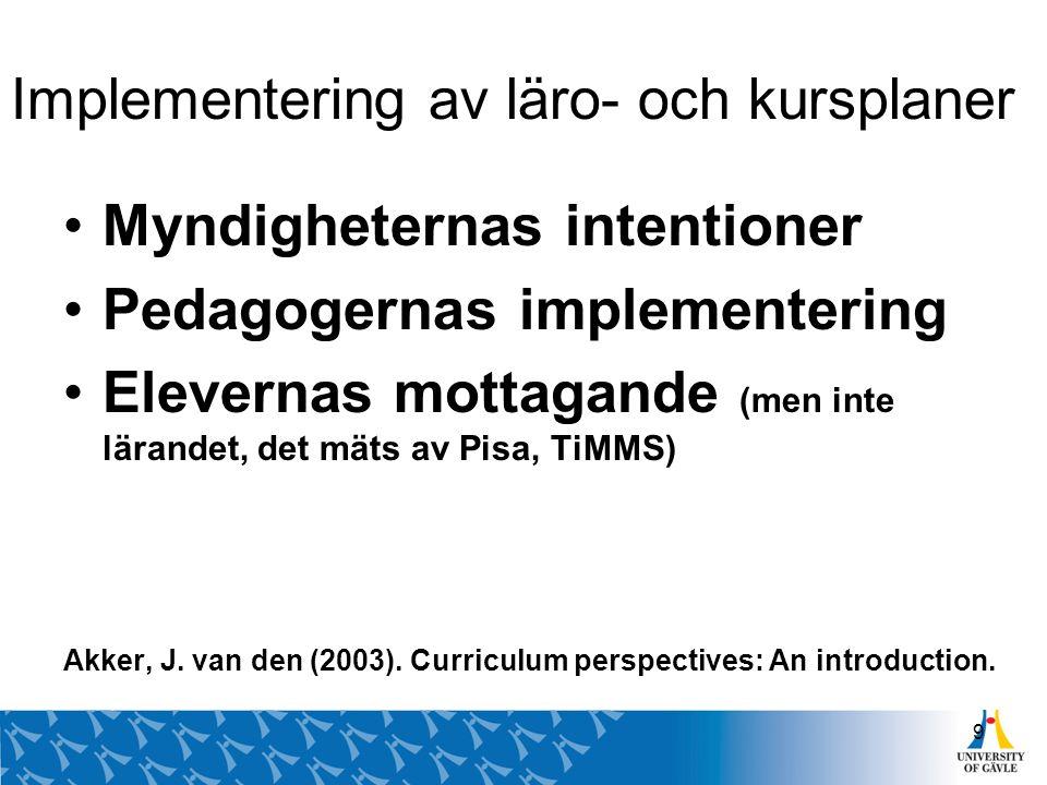 Implementering av läro- och kursplaner