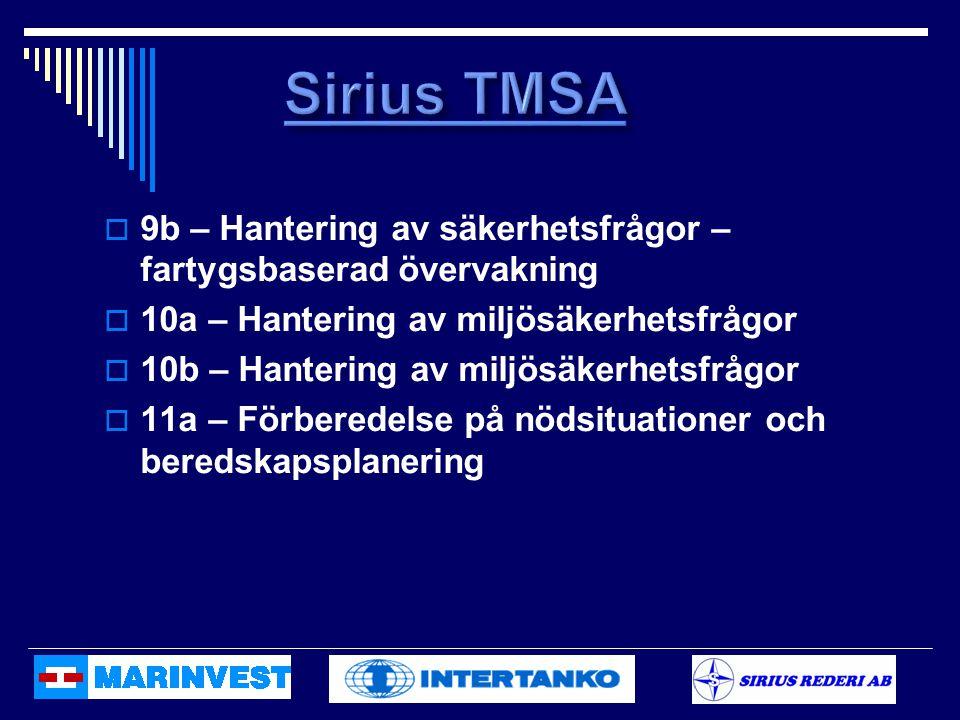 Sirius TMSA 9b – Hantering av säkerhetsfrågor – fartygsbaserad övervakning. 10a – Hantering av miljösäkerhetsfrågor.