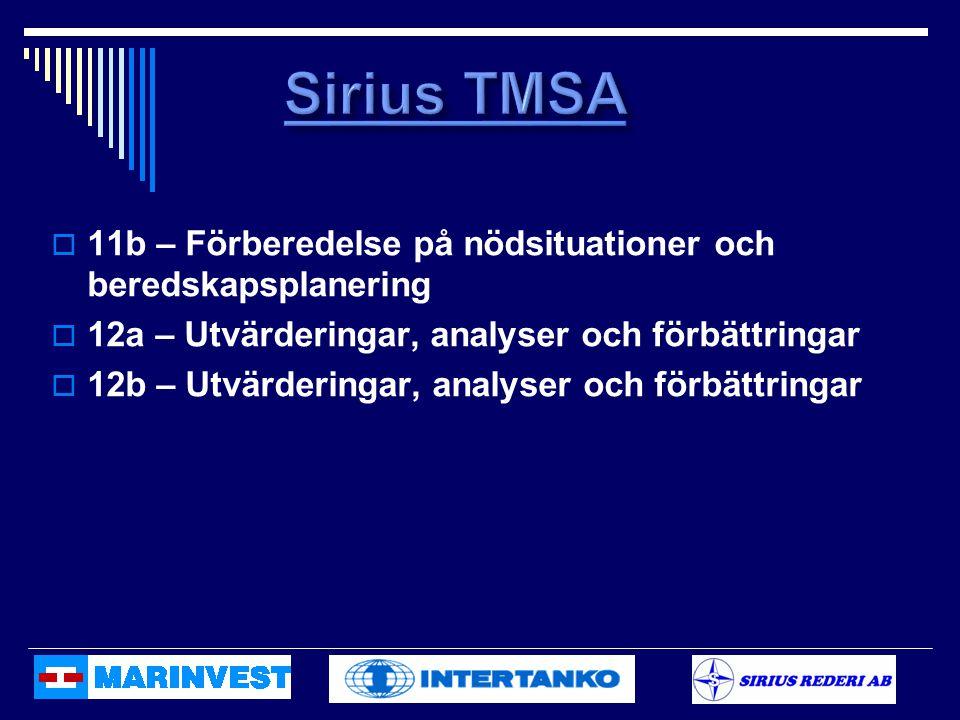 Sirius TMSA 11b – Förberedelse på nödsituationer och beredskapsplanering. 12a – Utvärderingar, analyser och förbättringar.