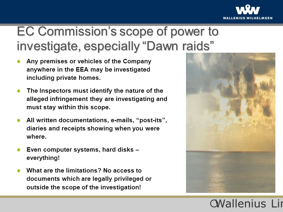 EC Commission's scope of power to investigate, especially Dawn raids