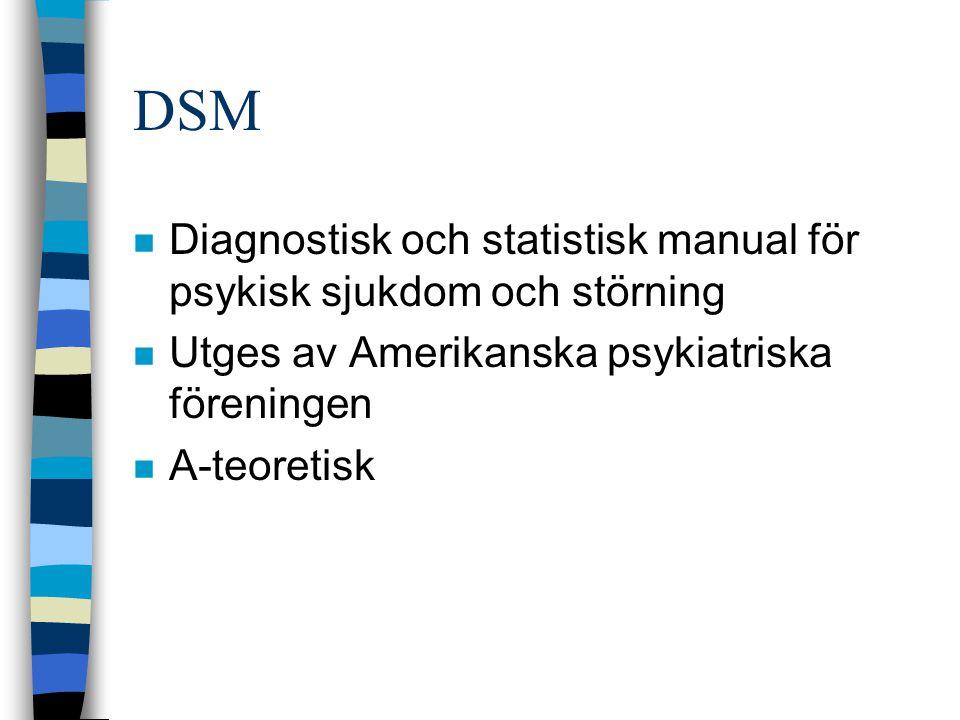 DSM Diagnostisk och statistisk manual för psykisk sjukdom och störning