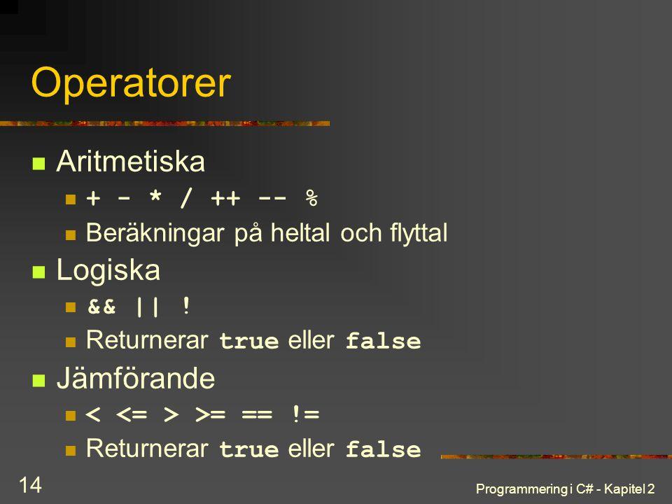 Operatorer Aritmetiska Logiska Jämförande + - * / ++ -- %