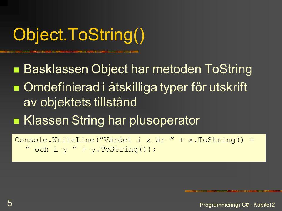 Object.ToString() Basklassen Object har metoden ToString