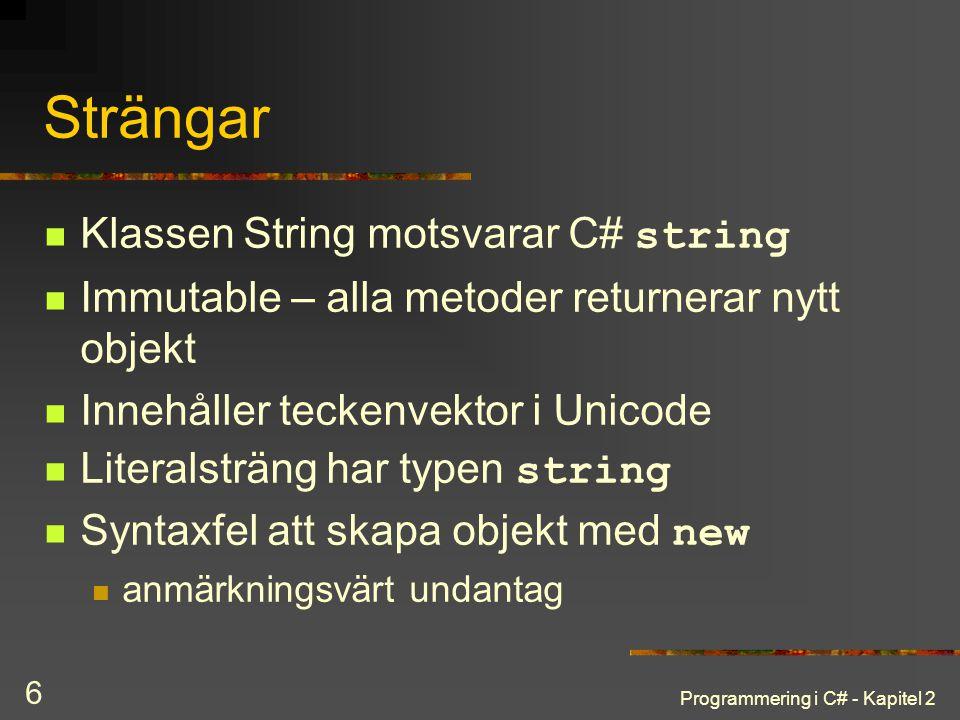 Strängar Klassen String motsvarar C# string