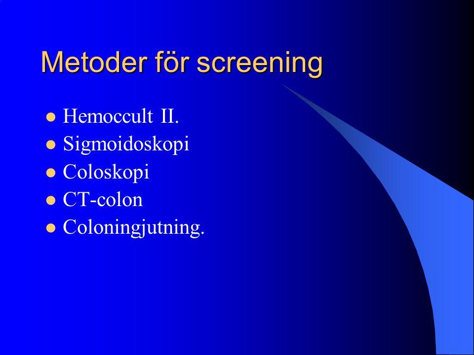 Metoder för screening Hemoccult II. Sigmoidoskopi Coloskopi CT-colon