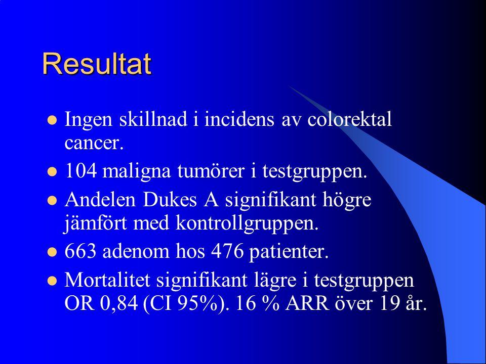Resultat Ingen skillnad i incidens av colorektal cancer.