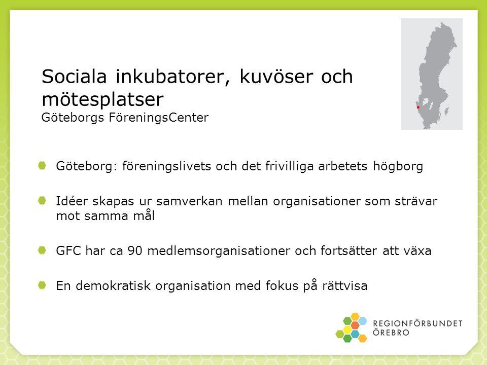 Sociala inkubatorer, kuvöser och mötesplatser Göteborgs FöreningsCenter