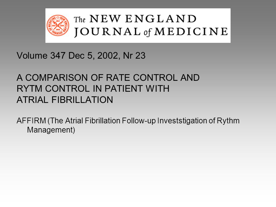 A COMPARISON OF RATE CONTROL AND RYTM CONTROL IN PATIENT WITH