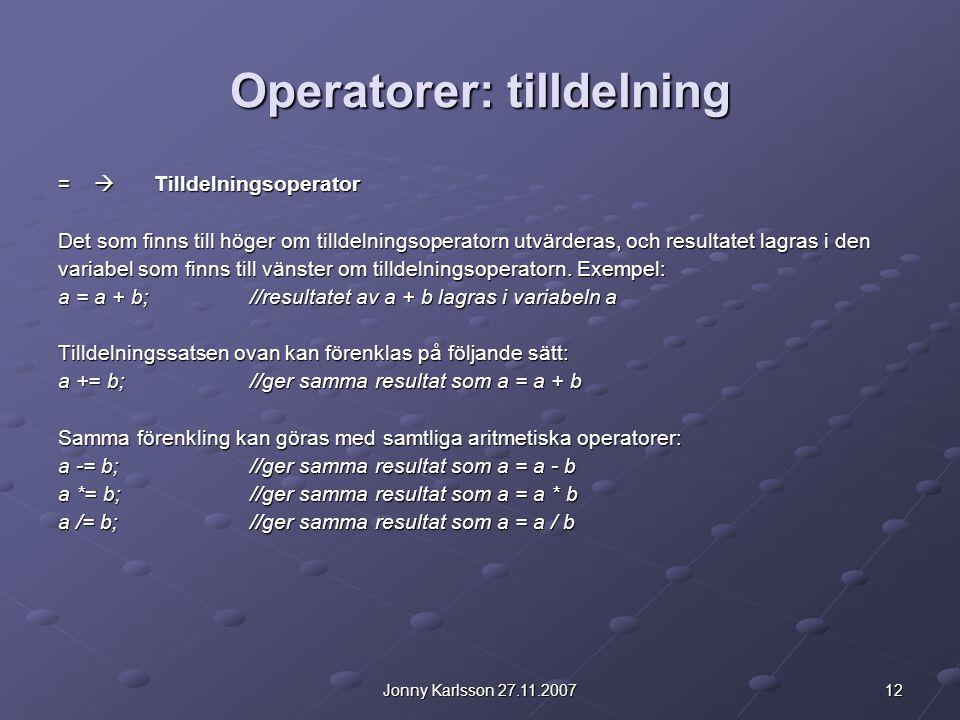Operatorer: tilldelning