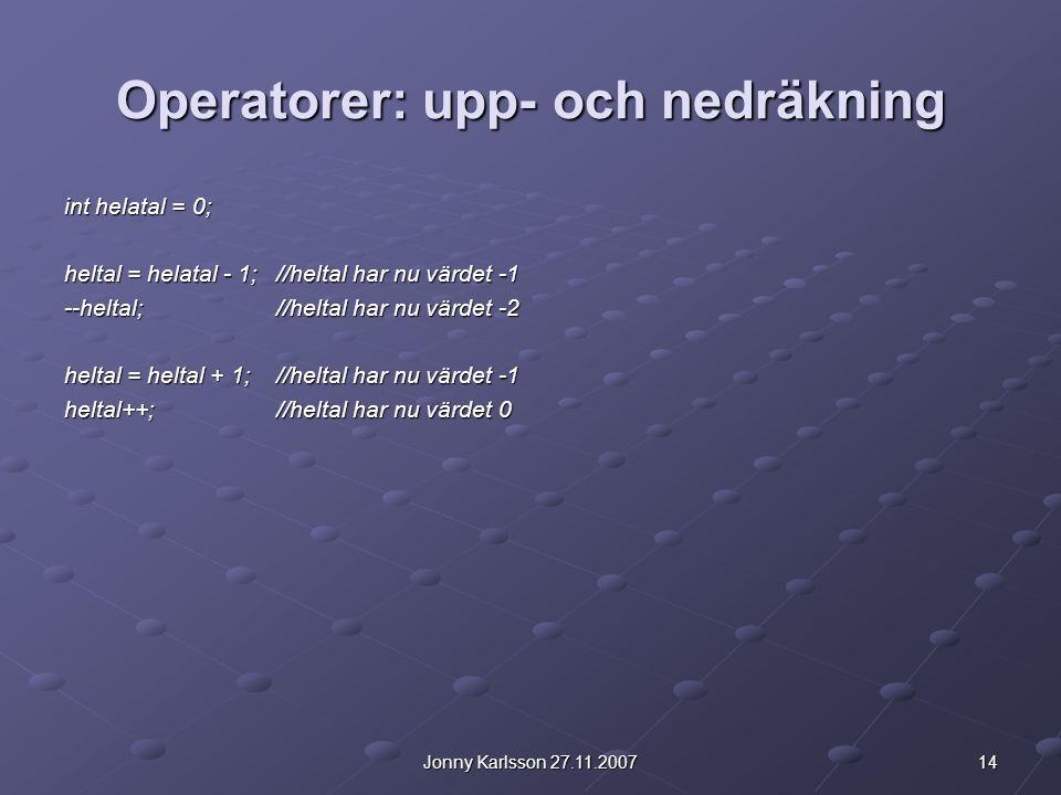 Operatorer: upp- och nedräkning