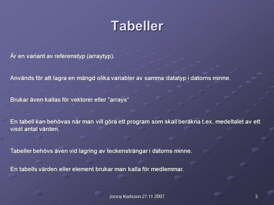 Tabeller Är en variant av referenstyp (arraytyp).