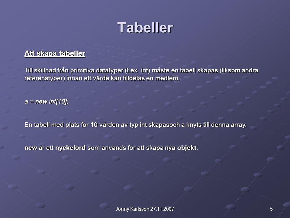 Tabeller Att skapa tabeller