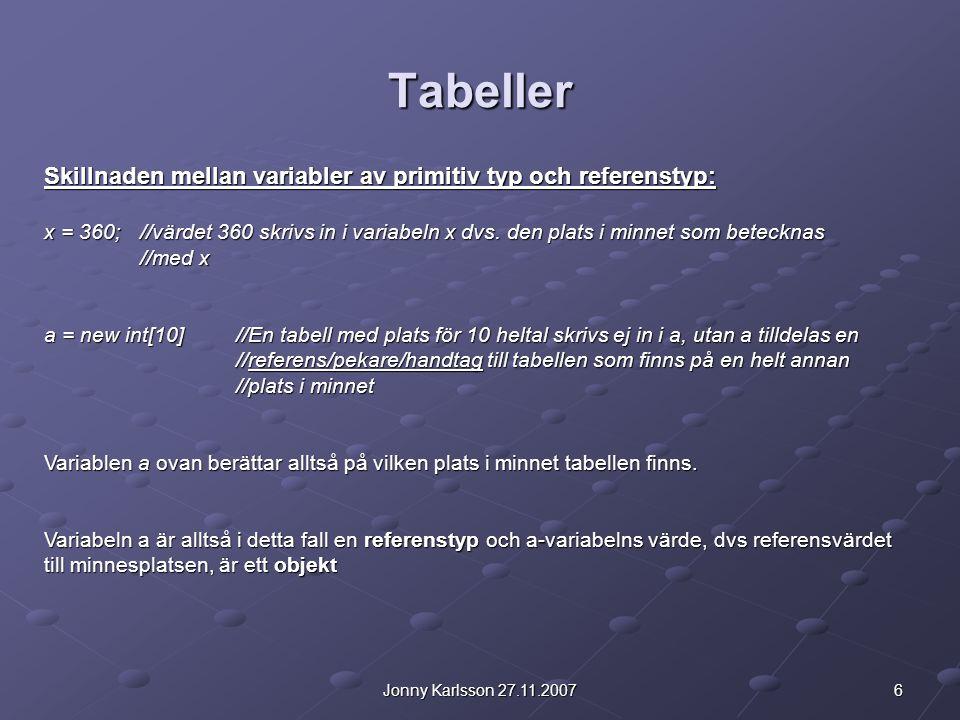 Tabeller Skillnaden mellan variabler av primitiv typ och referenstyp: