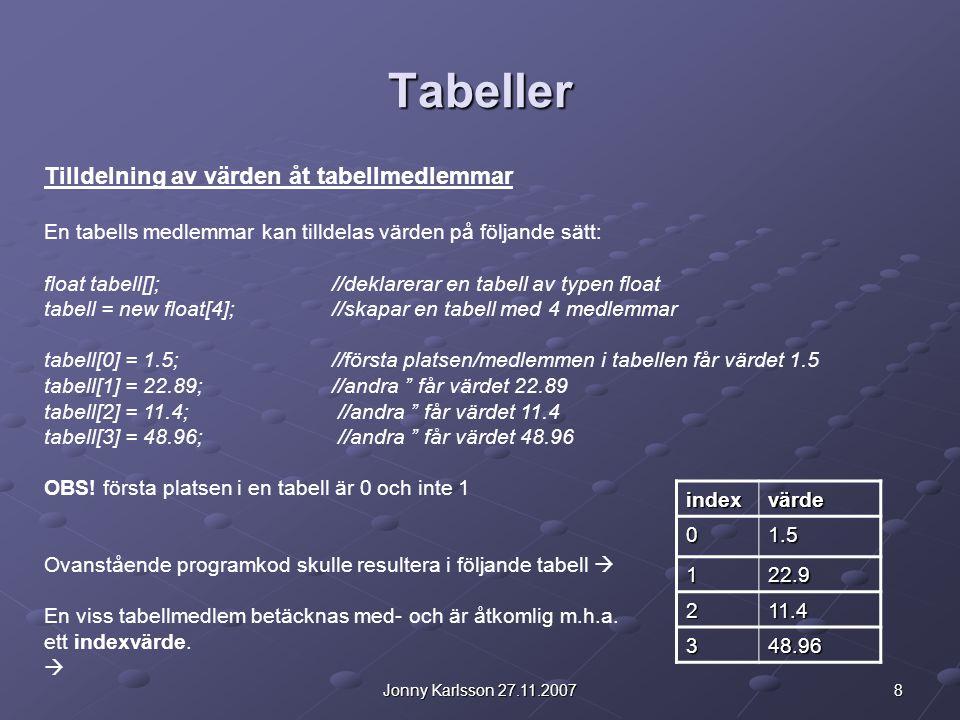 Tabeller Tilldelning av värden åt tabellmedlemmar