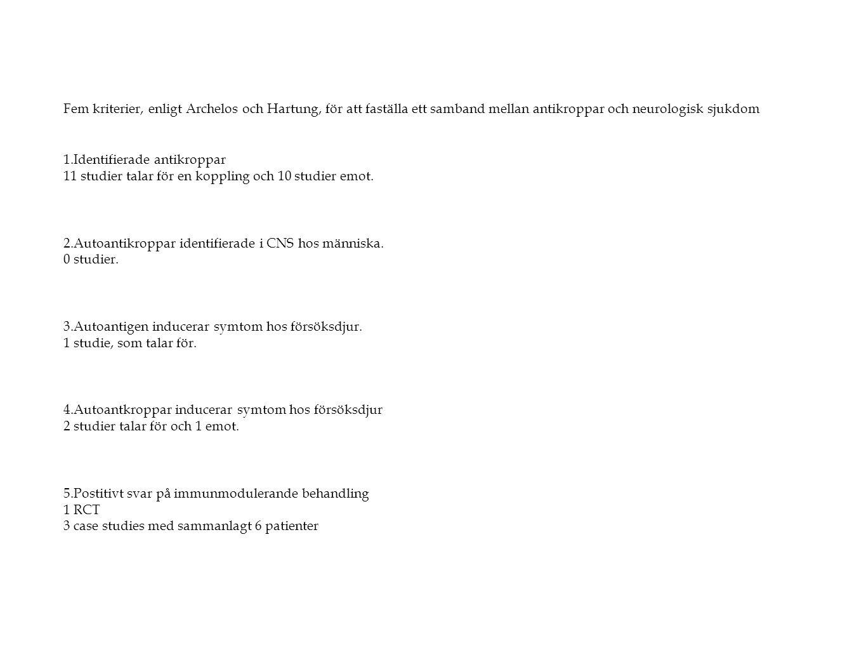 Fem kriterier, enligt Archelos och Hartung, för att faställa ett samband mellan antikroppar och neurologisk sjukdom