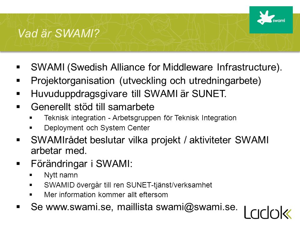 Vad är SWAMI SWAMI (Swedish Alliance for Middleware Infrastructure).
