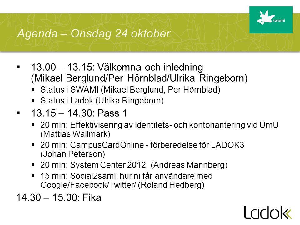 Agenda – Onsdag 24 oktober
