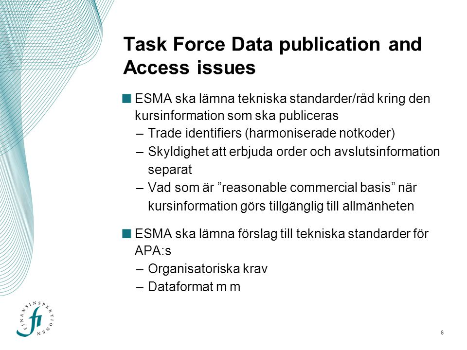 Task Force Data publication and Access issues