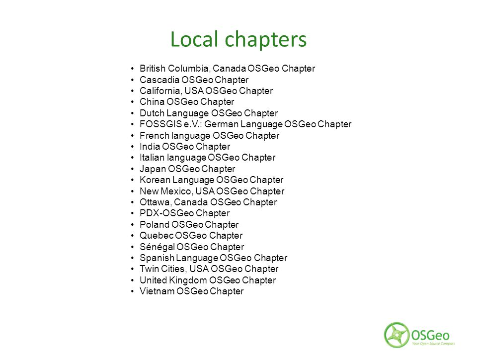 Local chapters British Columbia, Canada OSGeo Chapter