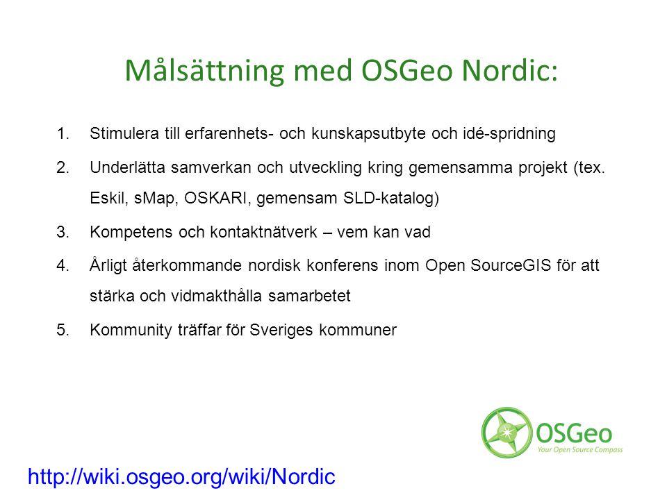 Målsättning med OSGeo Nordic: