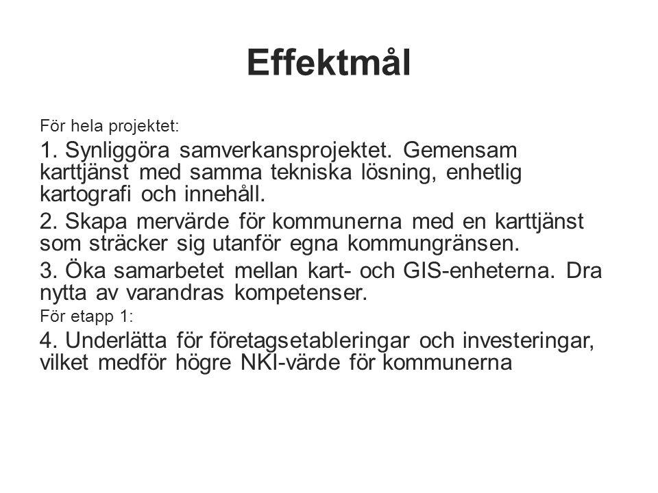 Effektmål För hela projektet: 1. Synliggöra samverkansprojektet. Gemensam karttjänst med samma tekniska lösning, enhetlig kartografi och innehåll.