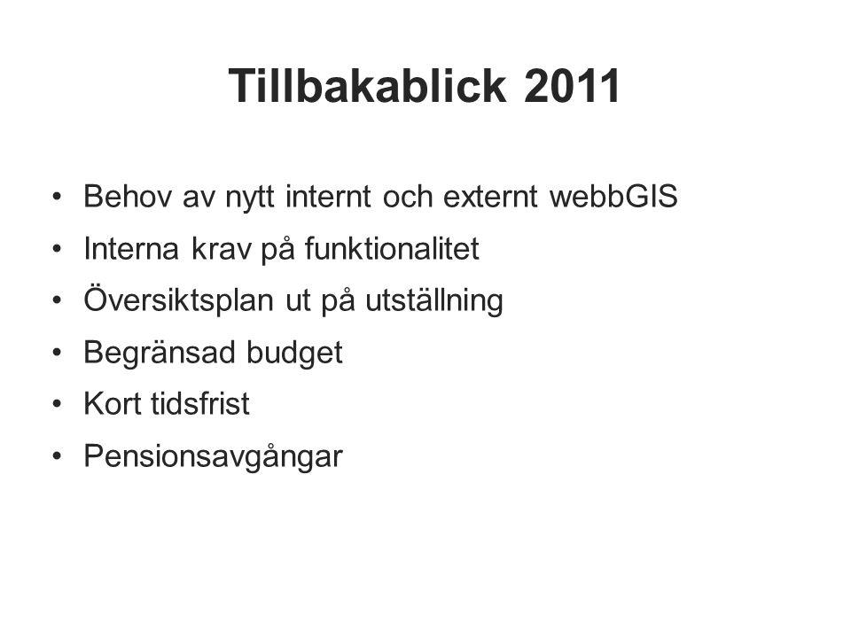Tillbakablick 2011 Behov av nytt internt och externt webbGIS