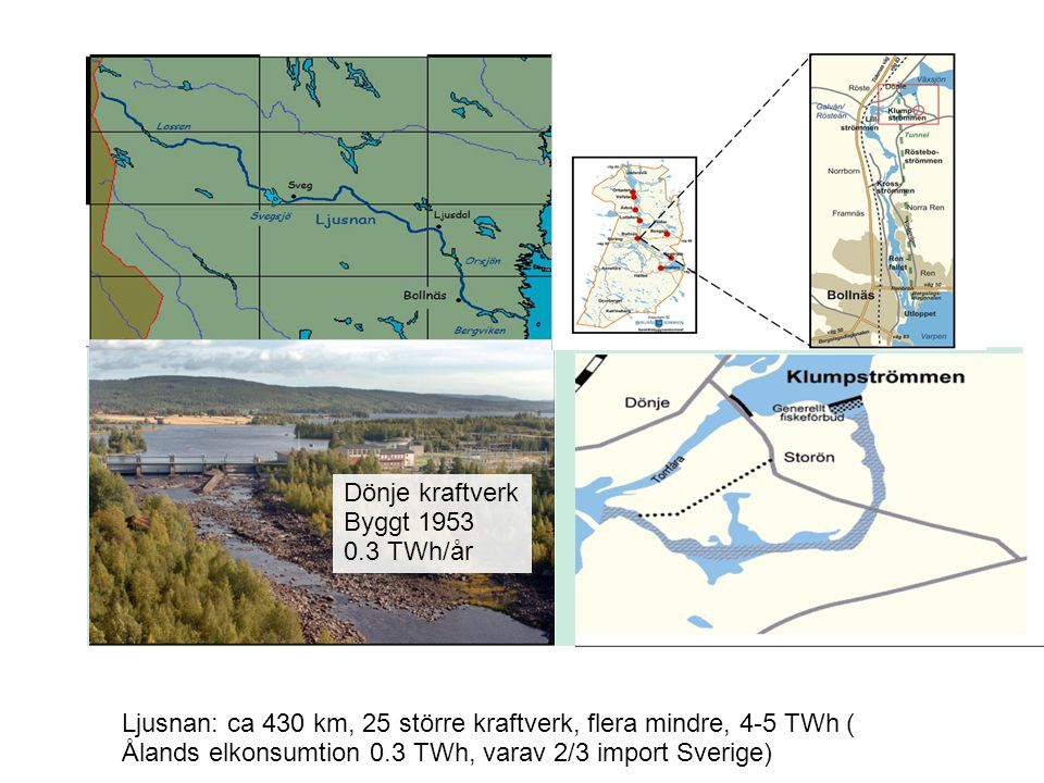 Dönje kraftverk Byggt 1953. 0.3 TWh/år. Ljusnan: ca 430 km, 25 större kraftverk, flera mindre, 4-5 TWh (