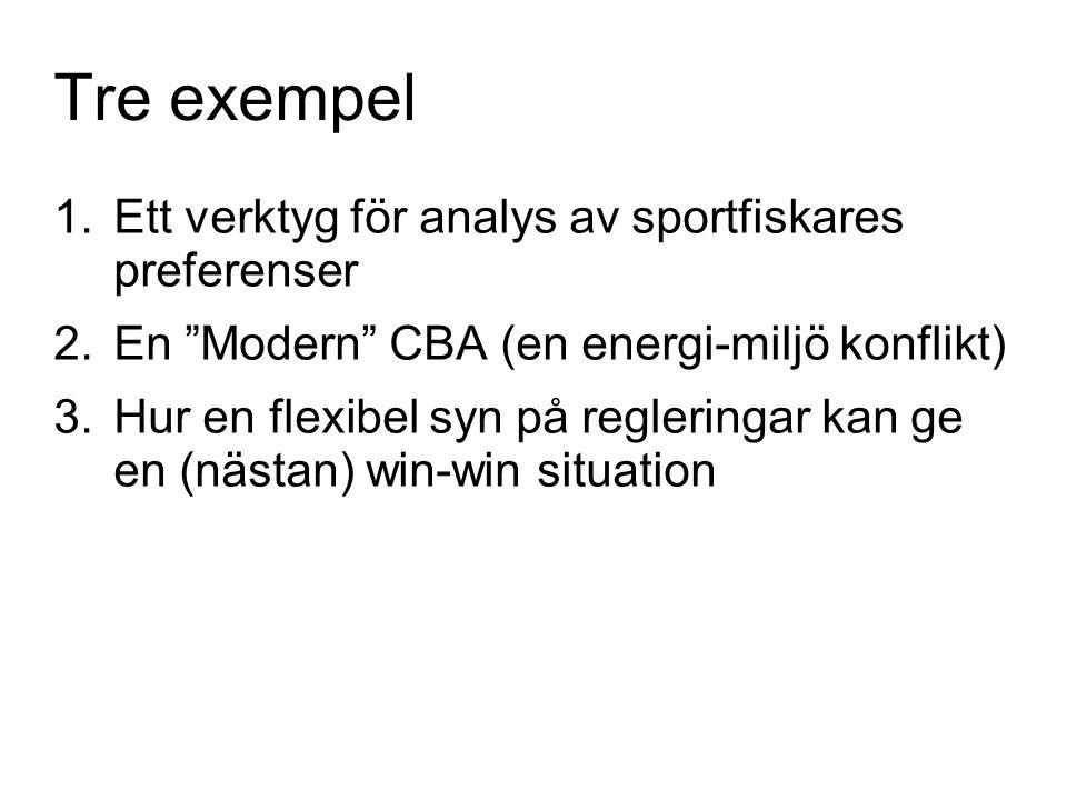 Tre exempel Ett verktyg för analys av sportfiskares preferenser