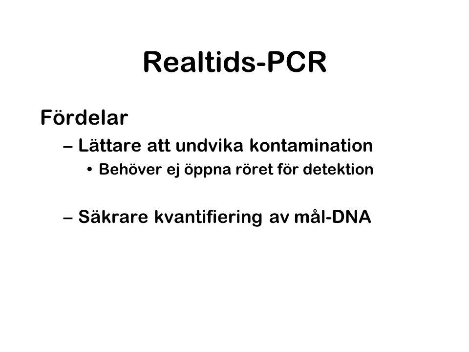 Realtids-PCR Fördelar Lättare att undvika kontamination