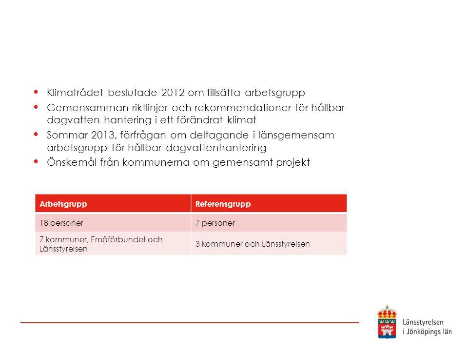 Klimatrådet beslutade 2012 om tillsätta arbetsgrupp