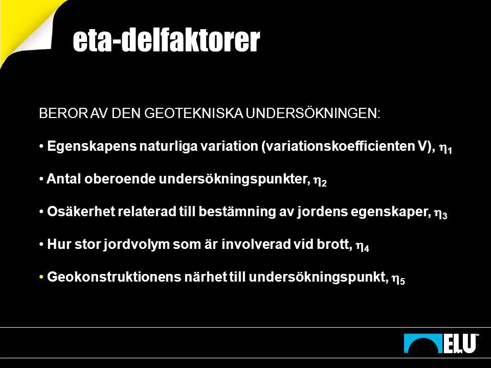 eta-delfaktorer BEROR AV DEN GEOTEKNISKA UNDERSÖKNINGEN: