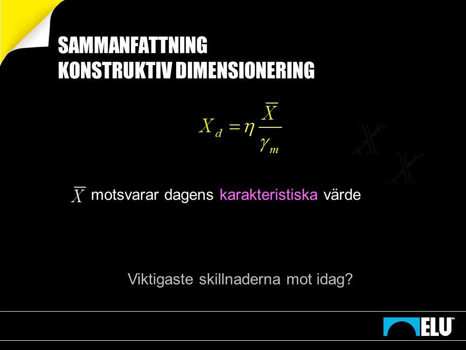 SAMMANFATTNING KONSTRUKTIV DIMENSIONERING