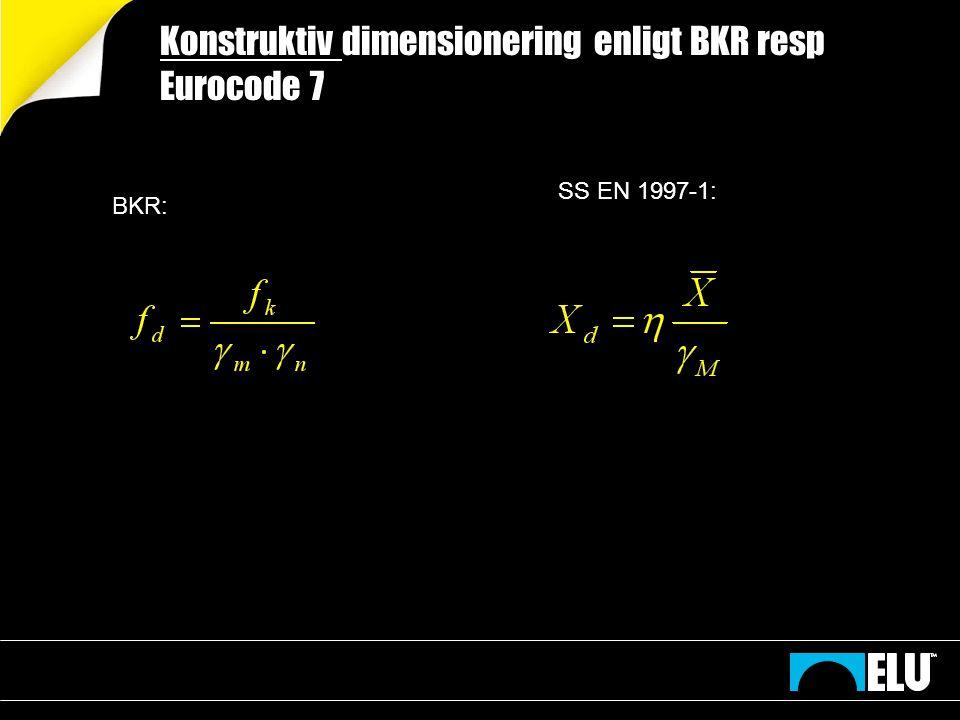 Konstruktiv dimensionering enligt BKR resp Eurocode 7